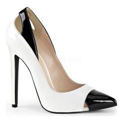 Women's Pleaser Sexy 22 Pump White/Black Patent