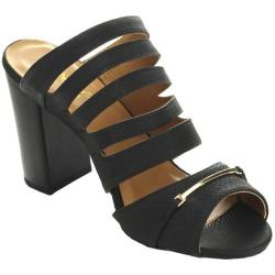 Women's Wild Diva Clarity-09 Chunky Slide Black Faux Leather