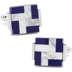 Men's Cufflinks Inc Mother of Pearl Lapis Windmill Square Cufflinks Blue