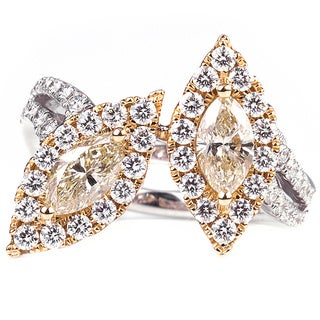 18k Gold 1 5/8ct TDW Brown and White Marquise Diamond Ring (H-I, SI1-SI2)