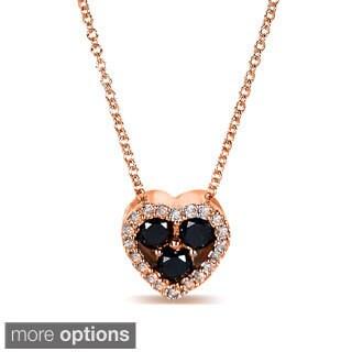 Annello 10k Gold 2/5ct TDW Black and White Diamond Halo Petite Heart Necklace (G-H, I1-I2)