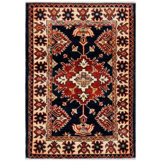 Herat Oriental Afghan Hand-knotted Kazak Red/ Beige Wool Rug (2'1 x 2'11)