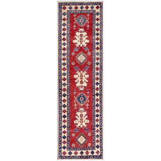 Herat Oriental Afghan Hand-knotted Kazak Red/ Ivory Wool Rug (2'10 x 9'9)