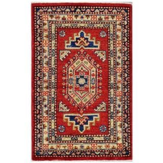 Afghan Hand-knotted Kazak Red/ Ivory Wool Rug (2' x 3'2)