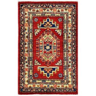 Herat Oriental Afghan Hand-knotted Kazak Red/ Ivory Wool Rug (1'11 x 3'1)