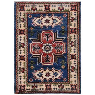 Afghan Hand-knotted Kazak Blue/ Ivory Wool Rug (2'1 x 2'10)