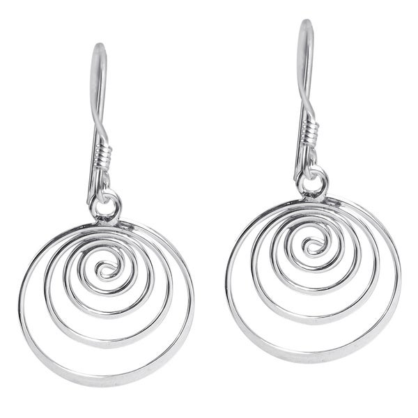 Spiral Comets Dangle .925 Sterling Silver Earrings (Thailand)