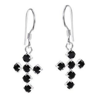 Spiritual Cross Cubic Zirconia .925 Silver Dangle Earrings (Thailand)