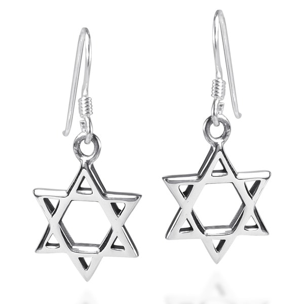 Mystical Star of David .925 Sterling Silver Earrings (Thailand) 12479720