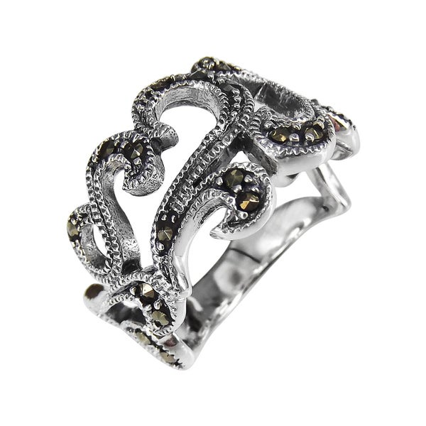Sweet Love Swirls Marcasite Stone Sterling Silver Ring (Thailand)