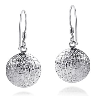 Textured Round Button Style .925 Silver Dangle Earrings (Thailand)