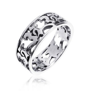 Peaceful Harmony Aum or Ohm Symbol .925 Silver Band Ring (Thailand)