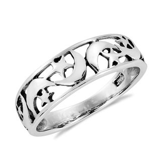 Ancient Eastern Star and Crescent Moon Sterling Silver Ring (Thailand)