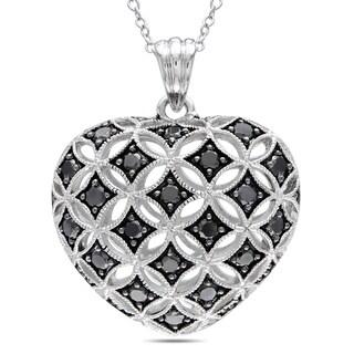 Miadora Sterling Silver 1ct TDW Black Diamond Heart Necklace