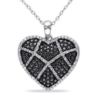 Miadora Sterling Silver 1/5ct TDW Diamond Heart Necklace (H-I, I2-I3)
