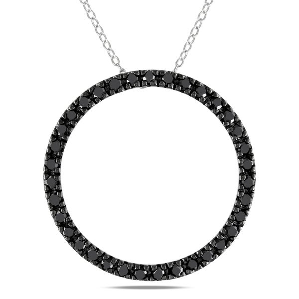Sterling Silver 1ct TDW Black Diamond Circle of Life Necklace