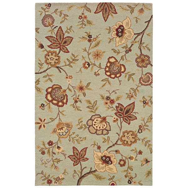 Hand-tufted Ivory Floral Wool Rug (3'6 x 5'6)