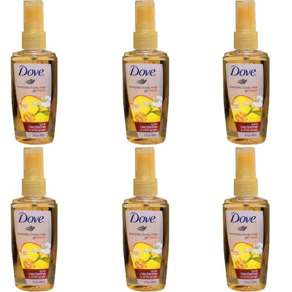 Dove Go Fresh Burst Nectarine & White Ginger 3-ounce Body Mist (Pack of 6)