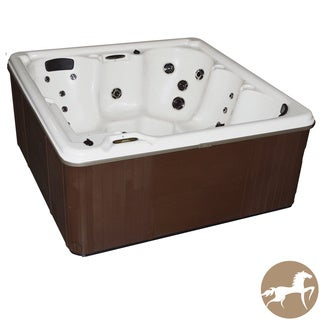 Christopher Knight Home Portable Spa LS 600 with White Pearl Shell and Mahogany Cabinet