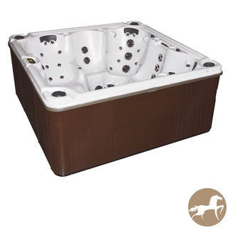 Christopher Knight Home Portable Spa LX 800 with White Pearl Shell and Mahogany Cabinet