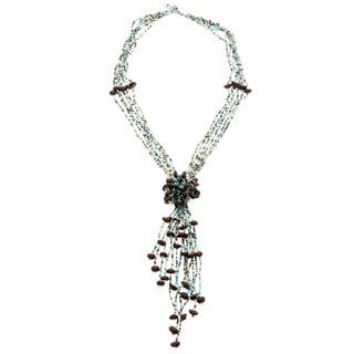 Lily Green Coffee Bean Beaded Cluster Necklace (Guatemala)