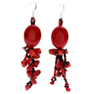 Sophia Red/ Black Beaded Dangle Earrings (Guatemala)