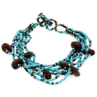 Astrid Blue/ Brown Coffee Bean and Seed Bead Bracelet (Guatemala)