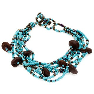 Astrid Blue/ Brown Coffee Bean and Seed Bead Bracelet (Guatemala)