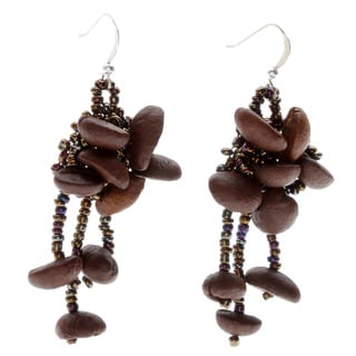 Haylee Espresso Coffee Bean Beaded Chandelier Earrings (Guatemala)