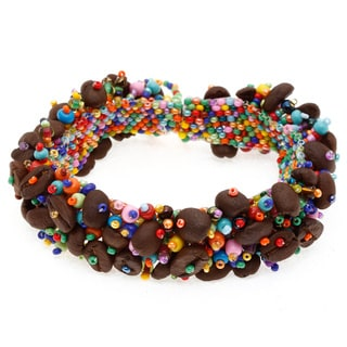 Parker Multi-colored Seed Bead and Coffee Bean Bracelet (Guatemala)