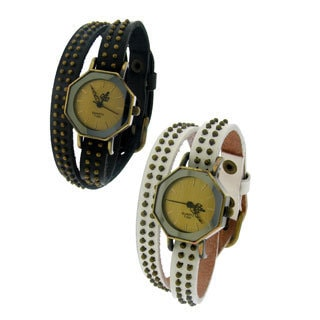 Moise Women's Leather Double Beaded Wrap Band with Octagon Face Watch