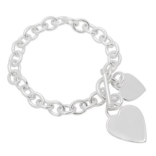Sterling Essentials Silver 7.5-inch Heart Charms Toggle Bracelet