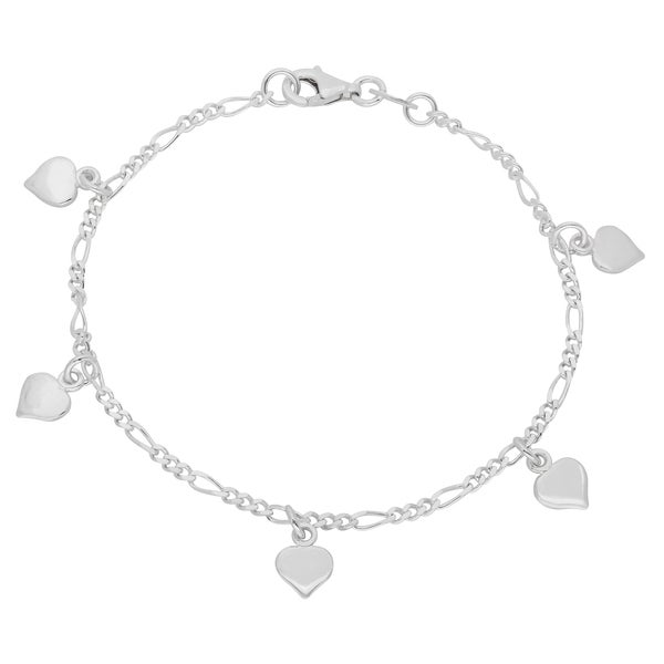 Sterling Essentials Silver 7-inch Polished Hearts Figaro Chain Bracelet
