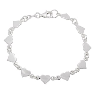 Sterling Essentials Silver 6-inch Polished Hearts Link Bracelet