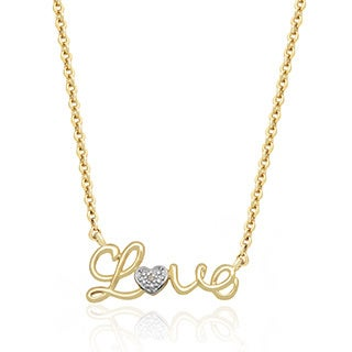 Finesque Gold or Silver Overlay Diamond Accent Love Design Necklace