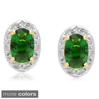 Dolce Giavonna Gold Overlay Simulated Emerald, Simulated Ruby or Simulated Opal Stud Earrings