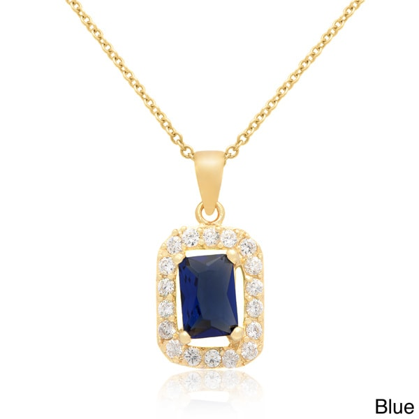 Dolce Giavonna 14k Gold Overlay Blue or Green Glass Necklace