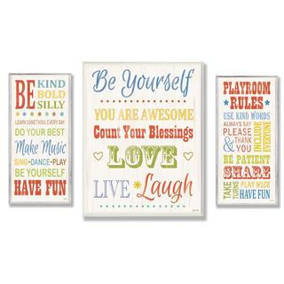 Janet White 'Be Yourself' Oversized 3-piece Typography Plaque