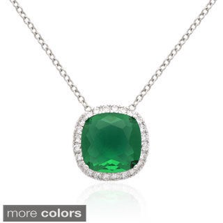 Dolce Giavonna Silver Overlay Blue or Green Glass Necklace