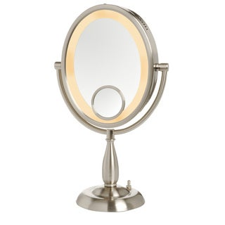 Jerdon 8-inch Two-Sided 10x Lighted Table Top Mirror in Nickel