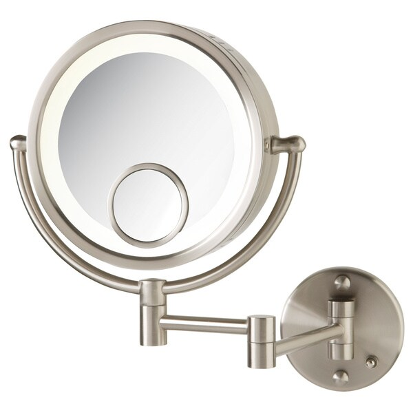 Jerdon 8.5-inch Two-Sided 7x Lighted Wall Mount Mirror in Nickel