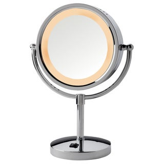 Jerdon 8 5 Inch Two Sided 5x Halo Lighted Table Top Mirror