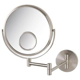 Jerdon 8-inch Two-Sided 10x Wall Mount Mirror in Nickel