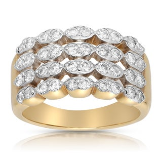 Eloquence 14k Yellow Gold 1ct TDW Round-cut Diamond Multi-row Diamond Ring (G-H, I1-I2)