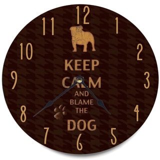 'Keep Calm and Blame The Dog' Brown Wood Clock