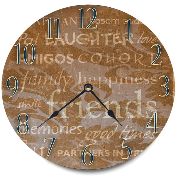 'Family, Happiness and Friends' Wood Wall Clock