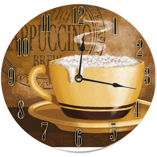 Frothy Cappuccino Round Wood Wall Clock 12483082