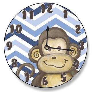 Lil' Buddy Monkey Brown/ Blue Chevron Clock