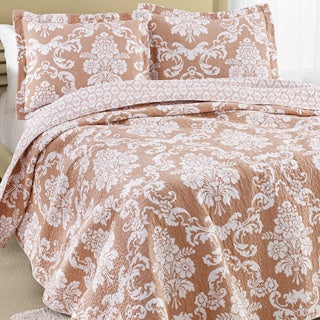 Laura Ashley Venetia Coral Reversible Cotton 3-piece Quilt Set