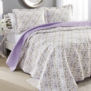Laura Ashley Spring Bloom Reversible Cotton 3-piece Quilt Set
